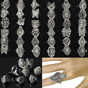 50pcs-Wholesale-Bulk-Jewelry-Lots-of-Mixed-Style-Tibet-Silver-Vintage-Rings-Gift
