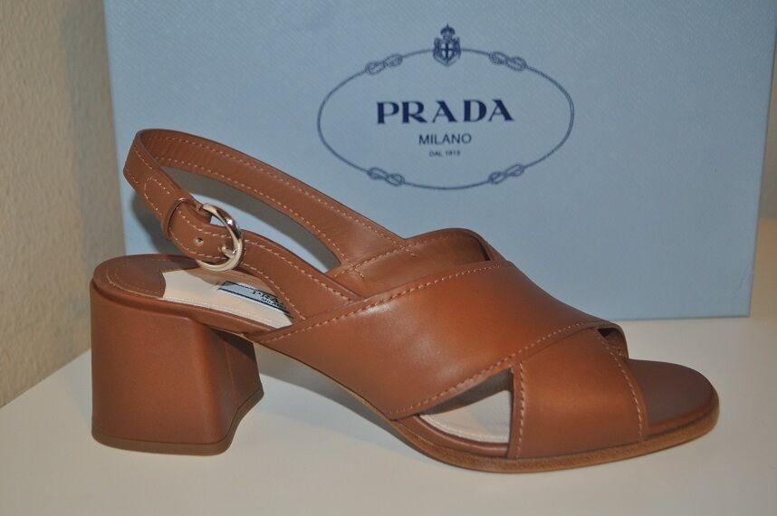 NIB PRADA Ankle Strap Slingback Sandal Block Heel Brown Leather Sz 39 - 9