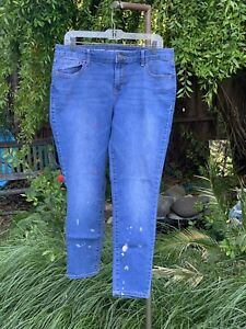 OLD-NAVY-Super-Skinny-Blue-Jeans-Paint-Stains-Distressed-Mid-Rise-Size-12