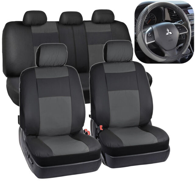Black Gray Synthetic Leather Seat Covers For Car Suv Auto Steering Wheel Cover