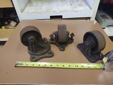 Vtg Antique Cast Iron Swivel Caster Wheels Industrial Factory Farm Cart Dolly