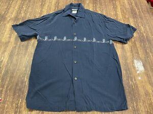 Walt Disney World - Enchanted Tiki Room Men's Blue Rayon Button-Down Shirt Small