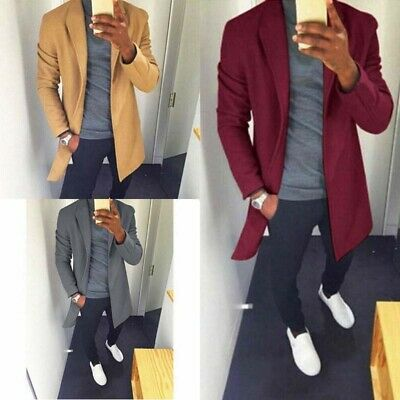 Mens Coat Jacket Overcoat Long Covert Formal Warm Solid Casual Collar Winter Top