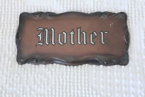 Beautifully-Embossed-Painted-Antique-Mother-Coffin-Casket-Plaque-Plate-Heavy