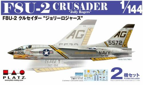 Platts 1//144 US military F8U2 Crusader Jolly Rogers 2 aircraft set Plastic PDR6