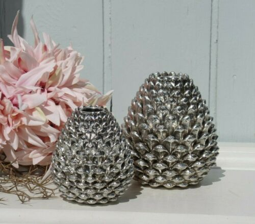 12 cm Deko Kerzenhalter Zapfen 2 Größen Silberfarben Polyresin Shabby H.10