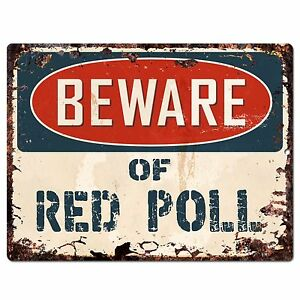 PP1802 Beware of RED POLL Plate Rustic Chic Sign Home Store Wall Decor Gift