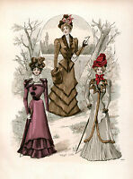 3 Victorian Edwardian Ladies Dress Design Fashion Colour Reproduction Prints