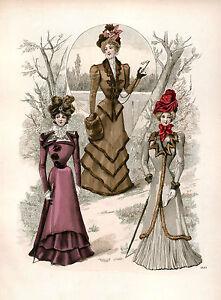 3-Victorian-Edwardian-Ladies-Dress-Design-Fashion-Colour-Reproduction-Prints-NEW