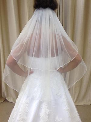 Ivory/White 2 Tier Waist Length Bridal Wedding Veil With Crystals Pencil Edge
