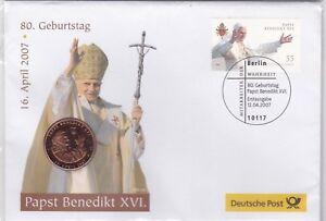 Numisbrief-Deutschland-2007-80-Geburtstag-Papst-Benedikt-XVI-Deutsche-Post