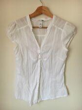 H&M Size 10 White Cotton Short Sleeve Shirt Top  T8025