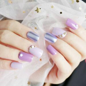 24Pc-Purple-Full-Cover-Nail-Art-Acrylic-False-Nail-Tips-French-Design-Fake-Nails