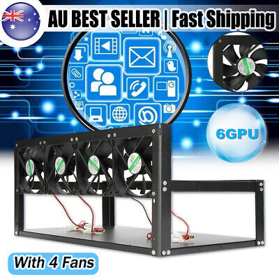 6GPU+3 Fans Bitcoin Mining Rig Aluminum Stackable Case Open Air Frame ETH//ZEC