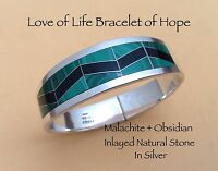 Taxco 925 Love Of Life Bracelet Of Hope Malachite And Obsidian Inlayed In Silver