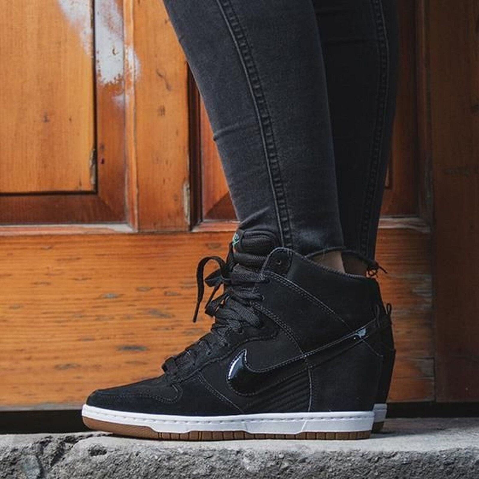 Nike Dunk Sky Hi Essential Black Gum 644877 011 Wmn Sz 6.5 Wedge