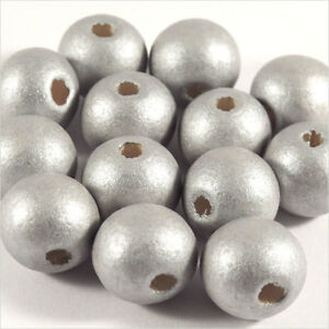 Lot-de-20-perles-rondes-en-Bois-12mm-Argente