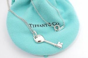 Tiffany co sterling silver 1p diamond heart key pendant necklace image is loading tiffany amp co sterling silver 1p diamond heart aloadofball Image collections
