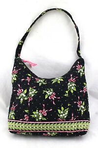 VERA-BRADLEY-New-Hope-Black-Floral-Pink-Bow-Ribbon-Quilted-Shoulder-Bag