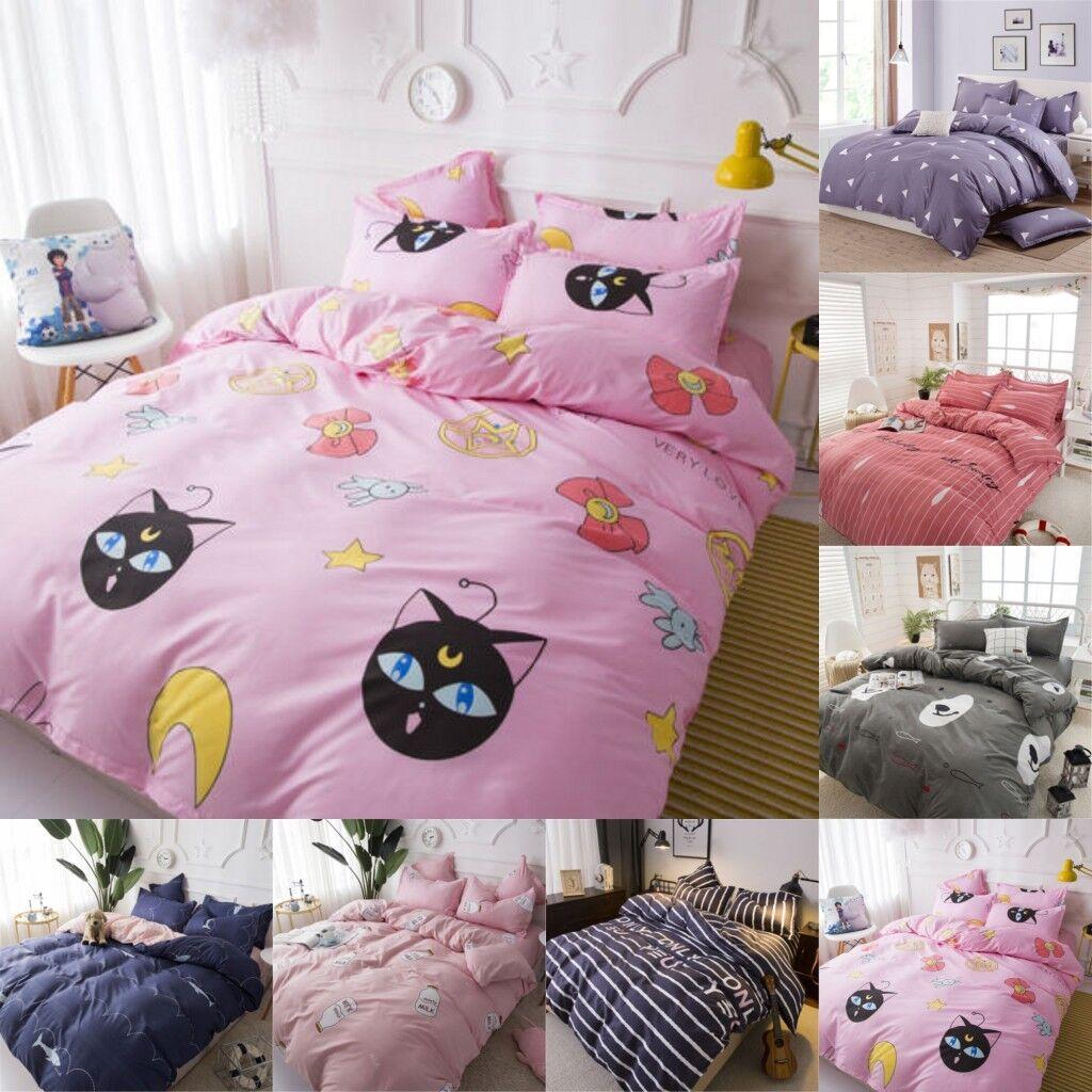 Anime Sailor Moon Luna Home Bedding Decor Duvet Cover Sheet Pillowcase Full Sets
