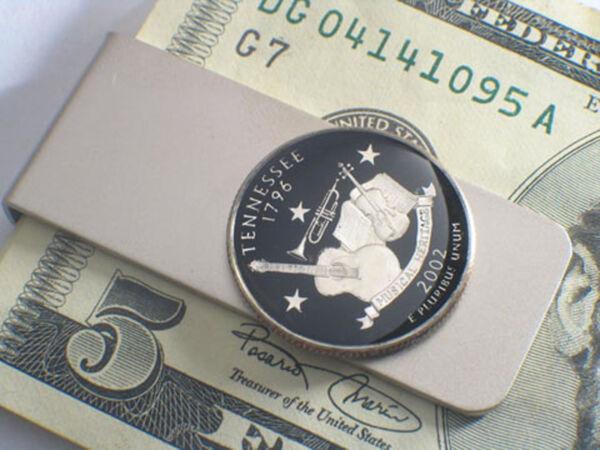 FäHig Geldclip Quarter Dollar Usa Koloriert + Versilbert 1999-2003 Auswahl Erfrischung
