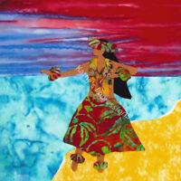 Hula Dancer Red Sunset Dancing On Beach Quilt Fabric Square Hawaii Kauai Mauai