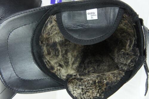 New Black 100/% Shearling Leather Earflaps Baseball Cap Hat Biker Trucker M-2XL