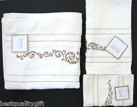 3pc Set Kassa Fina Ivory Floral,vintage Bath+hand+finger-tip Towel,washcloth