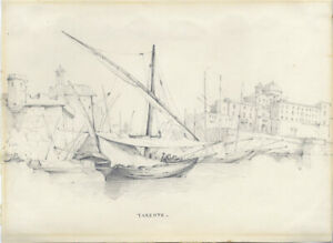 L-J-B-20th-Century-Graphite-Drawing-Ships-in-Dock-Tarento