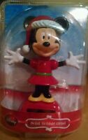 Disney Holiday Christmas Minnie Mouse Solar Bobble Head Table Top Dashboard Deco