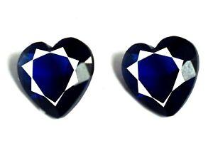 4 Ct Blue Sapphire Gemstone Pair Natural Heart Shape Certified Valentine's Sale