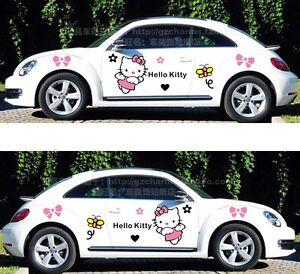 SET OF 2 SIDE MIRROR HELLO KITTY GRAPHIC VINYL DECAL CAR TRUCK STICKER