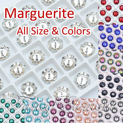 6mm-14mm Marguerite Flower Glass 3700 All Size Colors Crystal Sew On Small Qty