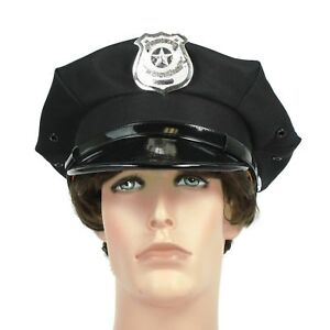Adult Police Officer Beat Cop Chauffeur Metal Badge Costume Accessory Hat Black
