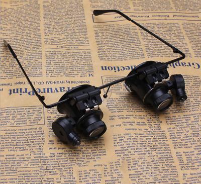 Lupenbrille Brillenlupe Uhrmacher Lupe 20X Vergrößerungsglas Lupe mit LED Licht