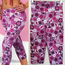 Brazilian Active Sports Athletic Wear Compression Pink Capri Tights Pants XS S
