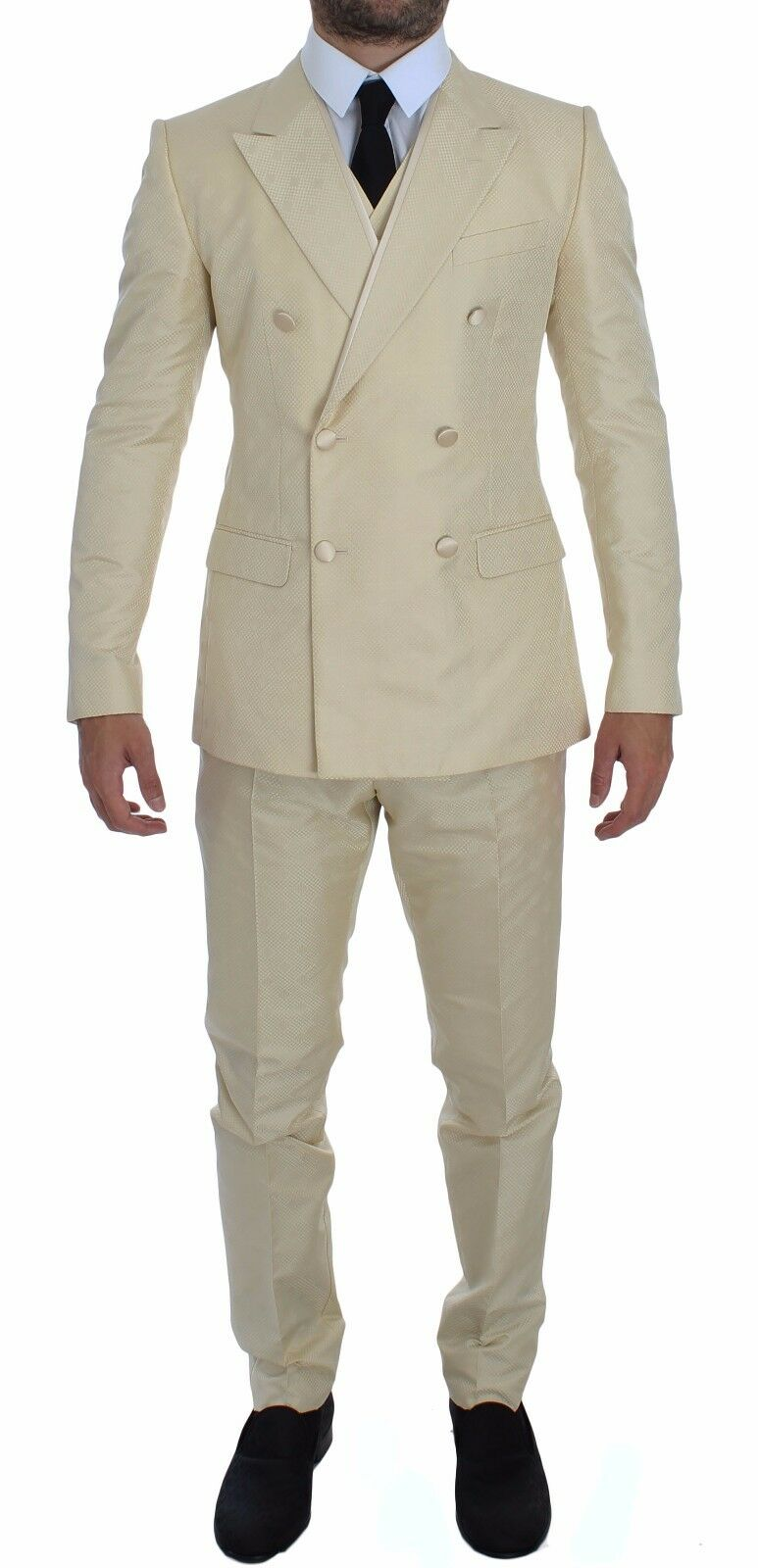 NWT 3200 DOLCE & GABBANA Cream Weiß Double Breasted 3 Piece Suit EU54/US44/XXL