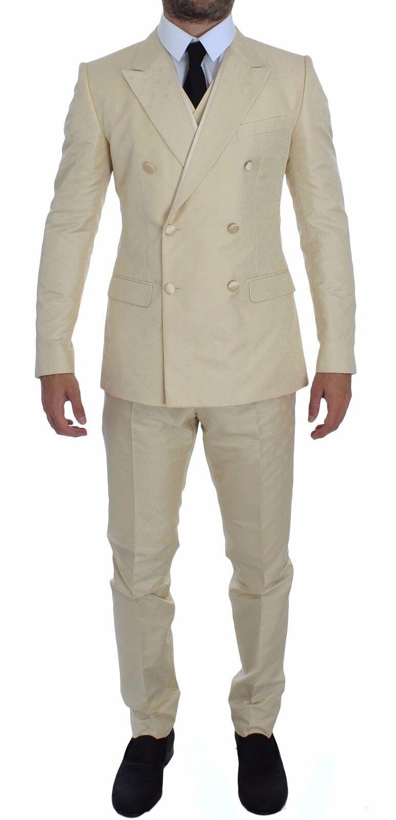 NWT DOLCE & GABBANA Cream Weiß Double Breasted 3 Piece Suit EU52 /US42/XL