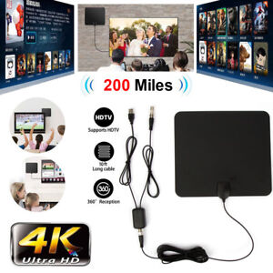 1080P HD 300 Miles Range Antenna TV Digital Skywire Indoor 4K 16ft Coax Cable
