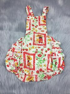 01dfe4a650f Details about Vintage Baby Toddler Girls Ruffle Sunsuit Romper Strawberry  Floral Farmer Print