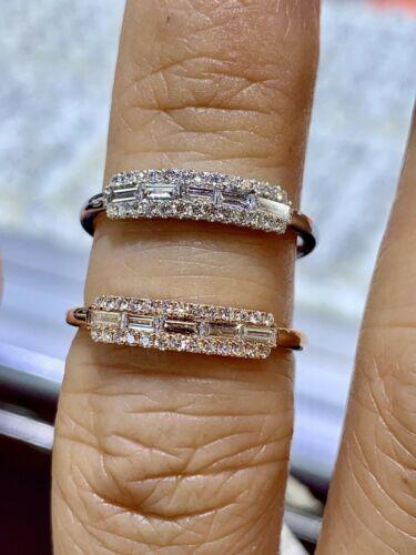 1Ct Baguette Cut VVS1 Diamond Art Deco Half Eternity Band Ring 14K Rose Gold FN