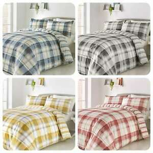 Fusion-BALMORAL-Tartan-Checked-Reversible-Easy-Care-Duvet-Cover-Set