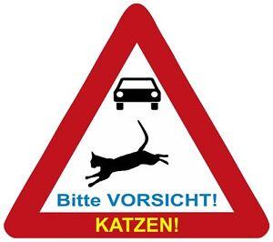 Katzen-Schild-Achtung-Vorsicht-Katzen-Aluminium-Schild-neu