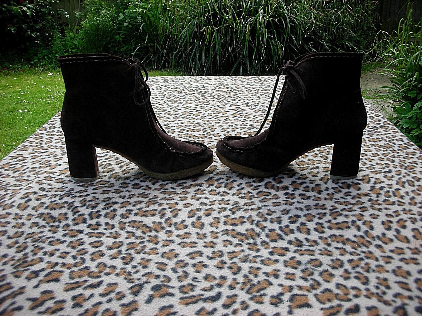 Clarks Originals Marrón Cuero Con Cordones botas al Tobillo Talla 8