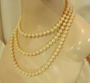 FAB-Flapper-Glass-Faux-Pearls-Vintage-60-039-s-Sterling-Clasp-Lovely-Necklace-312a7