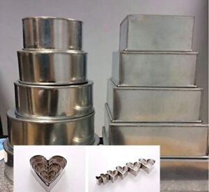 Wedding Cakes Pans.Details About Set Of 10 Wedding Cake Baking Pans Tins 5 Tier Square Round Free Set Of 6 Cutter
