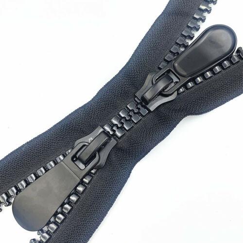 1pcs 10# resin Double zipper head  black zipper  (60-120CM) for clothing or bags
