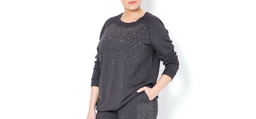 MARINA RINALDI Women's Grey Opposto Embellished Sweater NWT