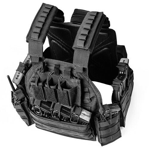 Tactical Vest with Mag pouch Intercom Bag Holder Molle Carrier Hook /& Loop Size