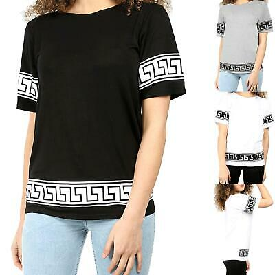 New Womens Aztec Print Short Sleeve T-Shirt Ladies Oversized Baggy Tribal Top